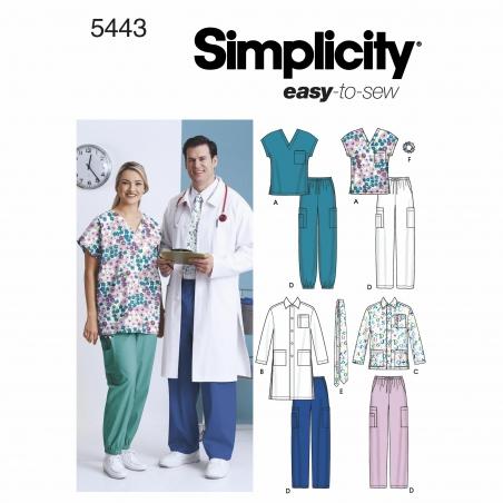 simplicity unisex scrubs pattern 5443 envelope