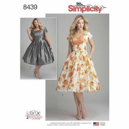 4simplicity retro dress miss plus pattern 8439