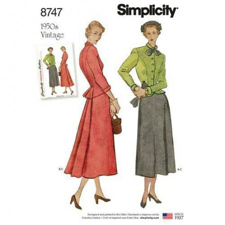 1 simplicity vintage suit 1950s pattern 8747 e