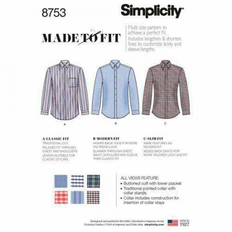 1 simplicity mens fitted shirt pattern 8753 en