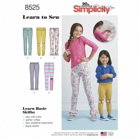 simplicity child leggings pattern 8525 envelop