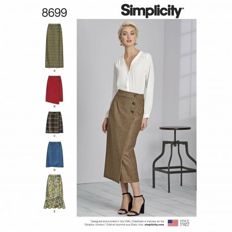 simplicity buttoned wrap skirt pattern 8699 en