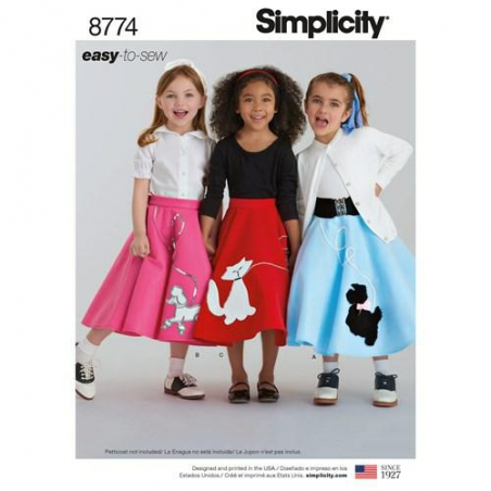 5 simplicity child poodle skirt costume patter
