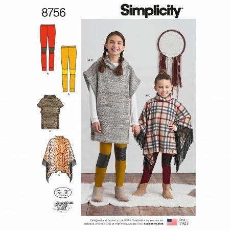simplicity girls poncho pattern 8756 envelope