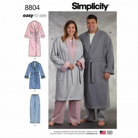 3 simplicity plus size sleepwear pattern 8804