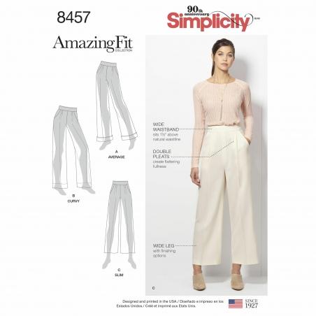 simplicity wide leg trousers pattern 8457 enve