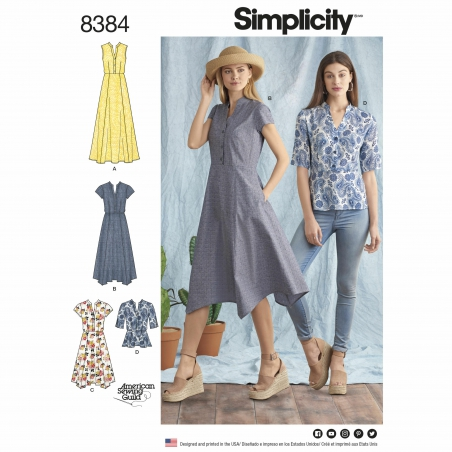 simplicity shirt dress pattern 8384 envelope f