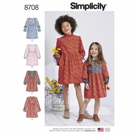 1 simplicity girls boho dress pattern 8708 env