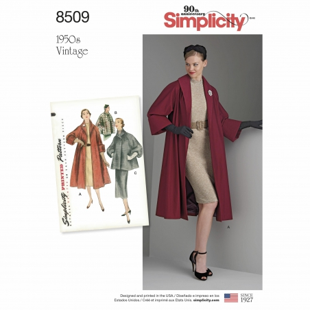 simplicity vintage coat pattern 8509 envelope